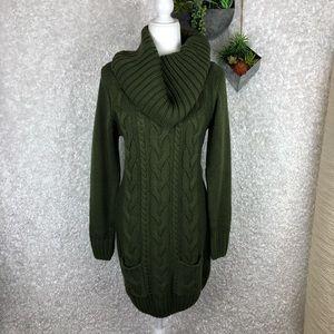 Venus Olive Cable Knit Sweater Dress | M